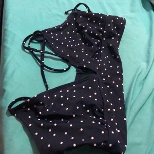 Gap blue and white polka dot bikini top